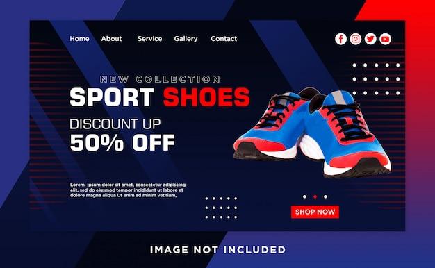 Modelo do cabeçalho da página de desembarque de sapatos esportes