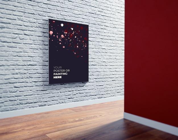 Modelo do cartaz / arte finala de psd na parede de tijolo branca. maquete do cartaz no interior