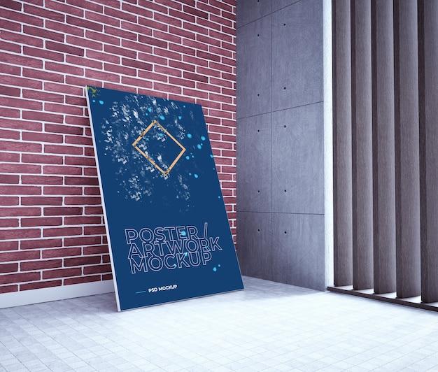 Modelo do cartaz / arte finala de psd na parede de tijolo. maquete do cartaz no interior