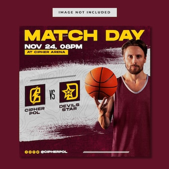 Modelo do instagram de partida de evento esportivo de basquete