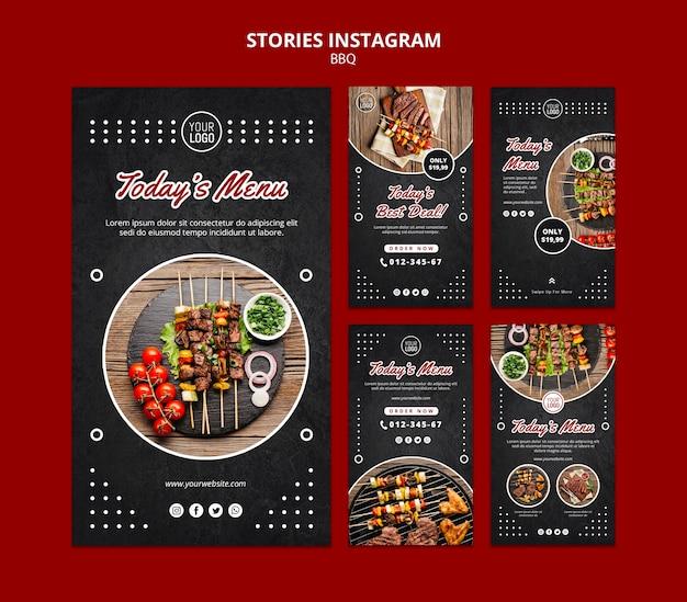 Modelo do instagram - histórias de conceito de churrasco