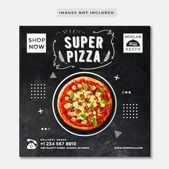 Modelo do instagram - pizza do quadro-negro