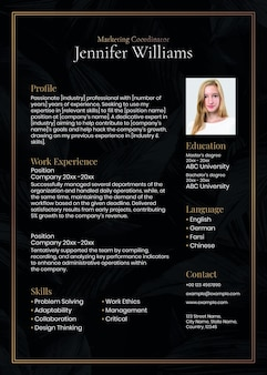 Modelo editável de currículo de luxo psd em preto e dourado