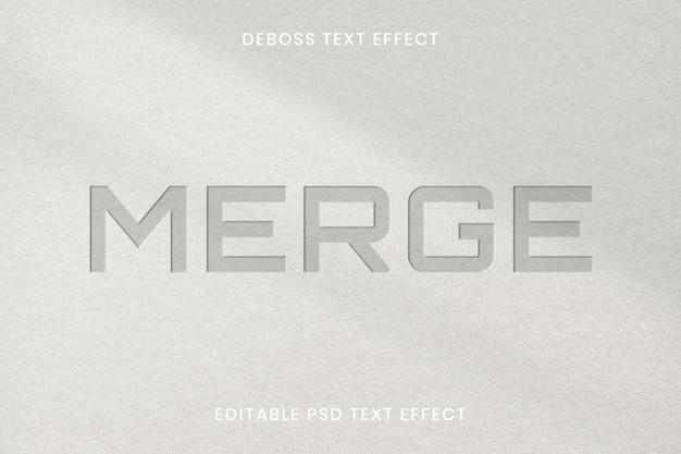 Modelo editável de efeito de texto em relevo psd em fundo de textura de papel
