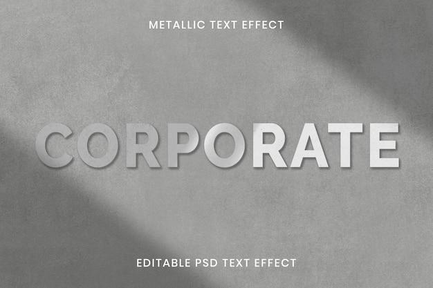 Modelo editável de efeito de texto metálico psd