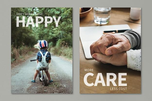 Modelo editável de seguro de saúde conjunto duplo de pôster de anúncio psd