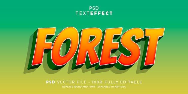 Modelo editável do estilo de efeito de fonte e texto de floresta