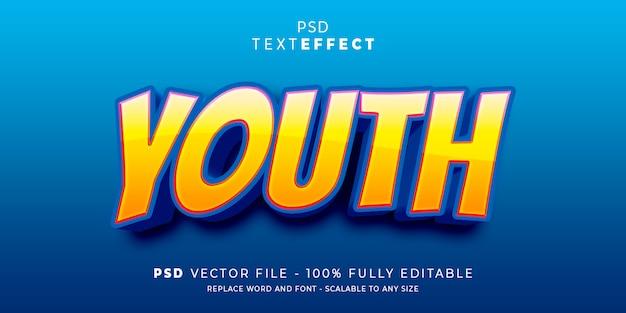 Modelo editável do estilo e efeito de texto juventude fonte