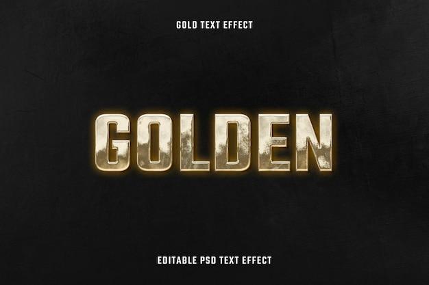 Modelo editável do psd com efeito de texto 3d dourado