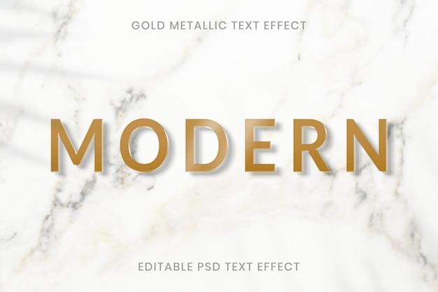 Modelo editável do psd com efeito de texto metálico dourado