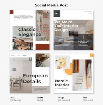 Modelo editável mídia social minimalista post banner
