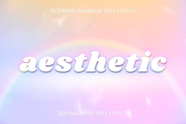 Modelo editável psd com efeito de texto arco-íris brilhante