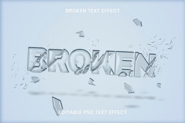 Modelo editável psd com efeito de texto de vidro quebrado