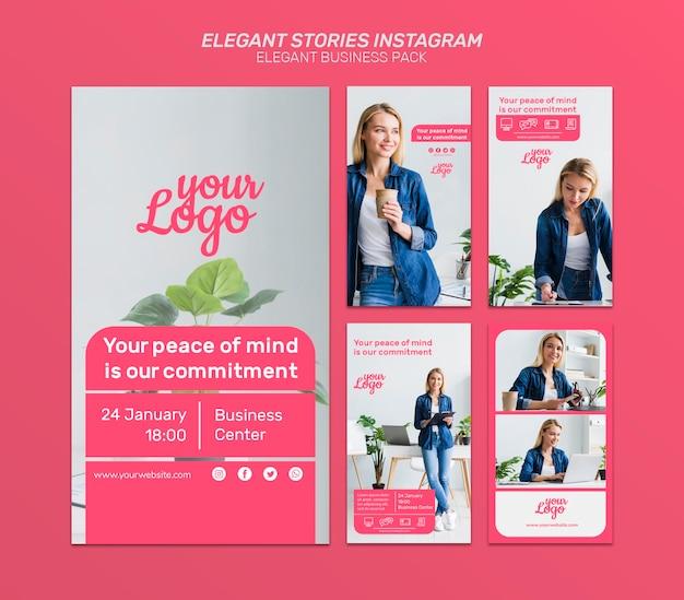 Modelo elegante de histórias do instagram