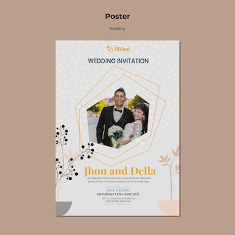 Modelo elegante de pôster de casamento