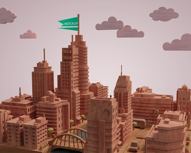 Modelo em miniatura de construção de cidade de mock-up