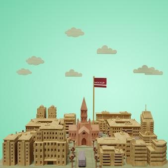 Modelo em miniatura do dia mundial das cidades mock-up