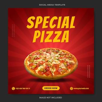 Modelo especial de banner de mídia social para promoção de pizza