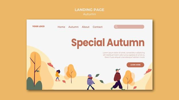 Modelo especial de página de destino de outono
