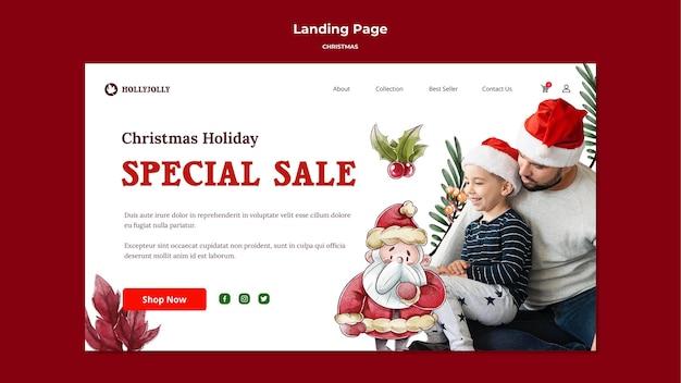 Modelo especial de página de destino de venda de natal