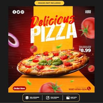 Modelo especial de postagem em banner de mídia social delicious pizza