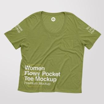 Modelo feminino de camiseta flowy pocket