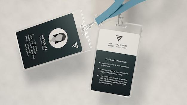Modelo flutuante de cartão de identificação realista