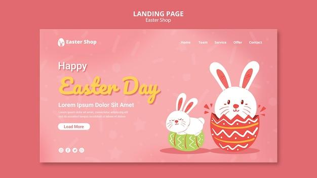 Modelo fofo de página de destino para o dia de páscoa