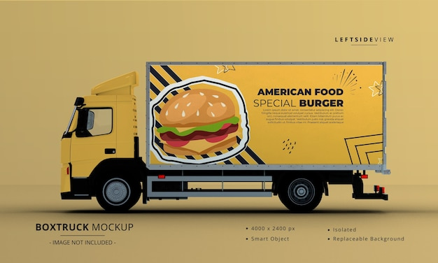 Modelo genérico de caminhão de caminhão grande, vista lateral esquerda