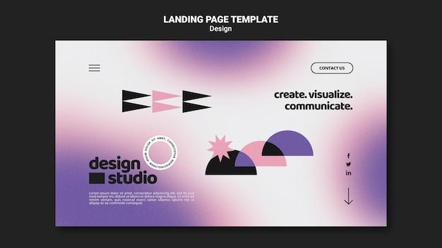 Modelo geométrico de página de destino para estúdio de design