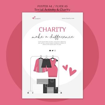 Modelo ilustrado de atividade social e impressão de caridade
