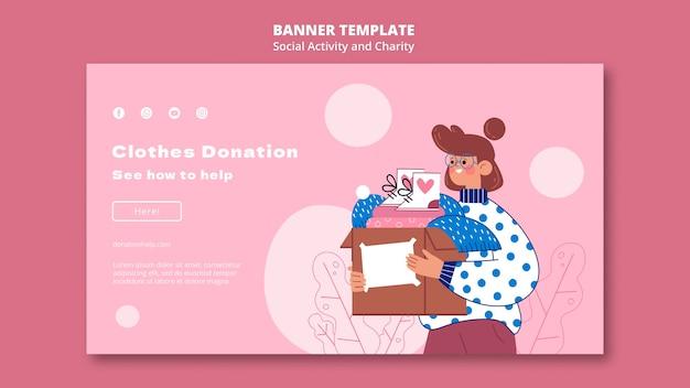 Modelo ilustrado de banner de atividade social e caridade