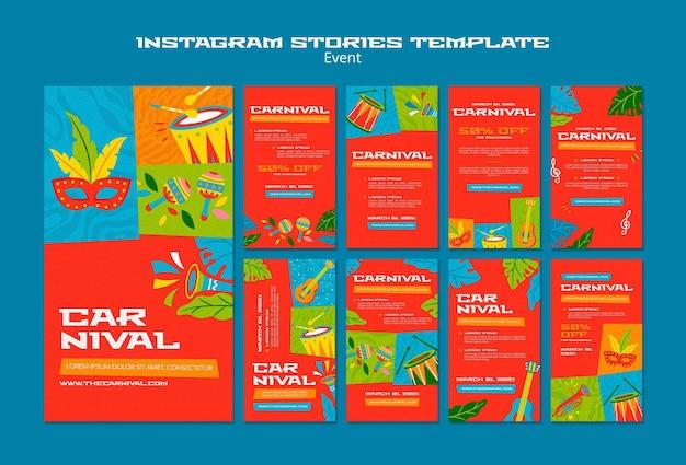 Modelo ilustrado de histórias de carnaval no instagram