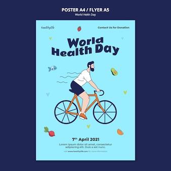 Modelo ilustrado de impressão do dia mundial da saúde