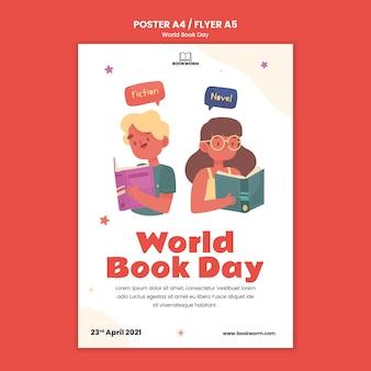 Modelo ilustrado de impressão do dia mundial do livro