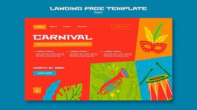 Modelo ilustrado de página de destino de carnaval