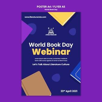 Modelo ilustrado de pôster do dia mundial do livro