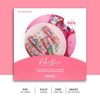 Modelo instagram post comida bolo rosa