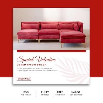 Modelo instagram post valentine sofá vermelho