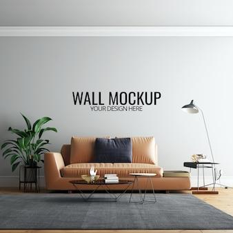 Modelo interior da parede da sala de visitas com mobília e decoração