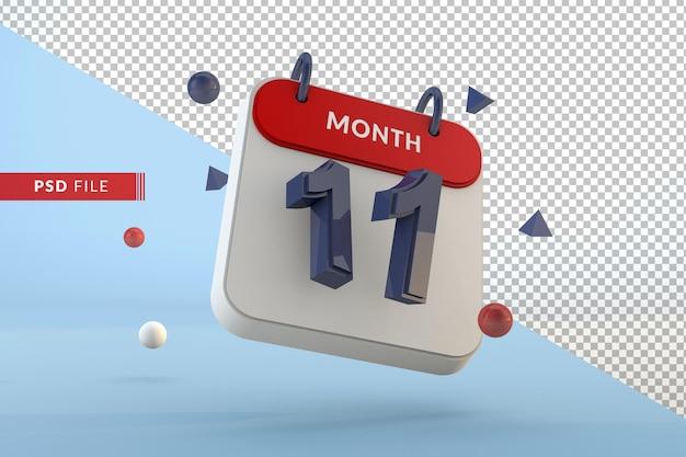 Modelo isolado de calendário número 11 renderização em 3d