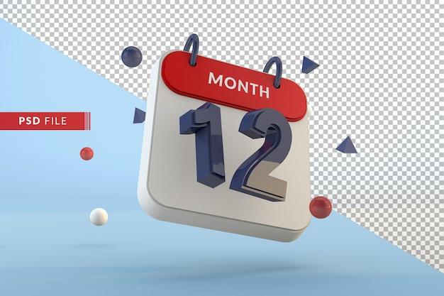 Modelo isolado de calendário número 12 renderização em 3d