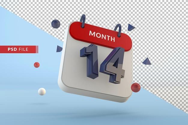 Modelo isolado de calendário número 14 renderização em 3d