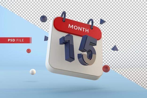 Modelo isolado de calendário número 15 renderização em 3d