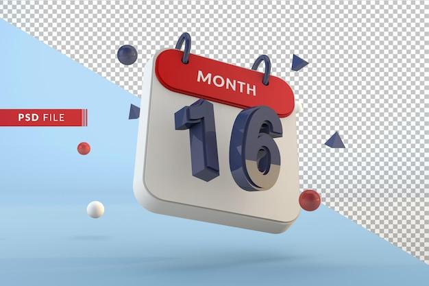 Modelo isolado de calendário número 16 renderização em 3d