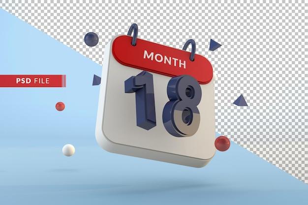 Modelo isolado de calendário número 18 renderização em 3d