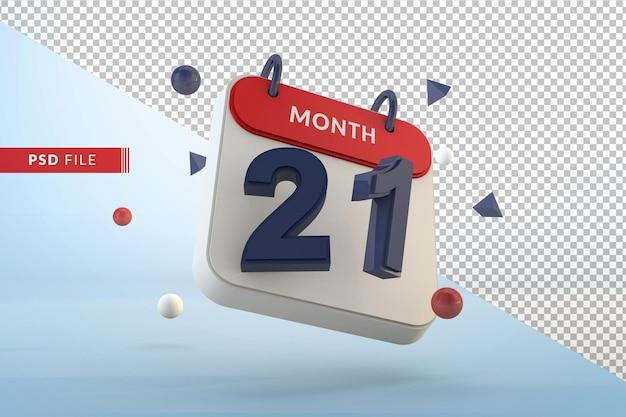 Modelo isolado de calendário número 21 renderização em 3d