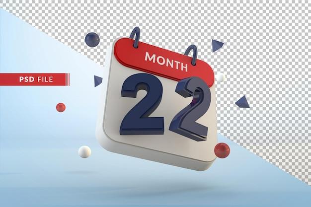 Modelo isolado de calendário número 22 renderização em 3d