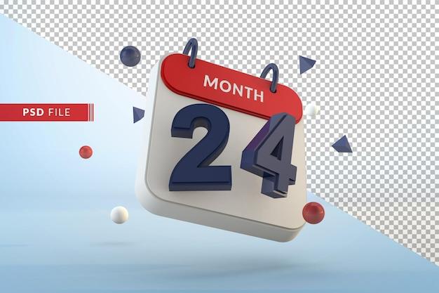 Modelo isolado de calendário número 24 renderização em 3d