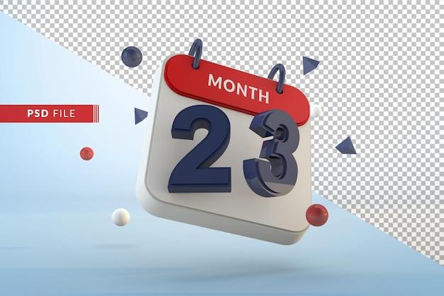 Modelo isolado do calendário 23, renderização em 3d
